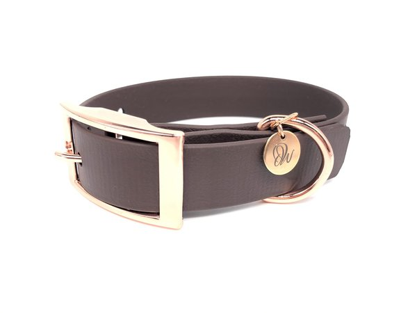 Hundehalsband PUR Brown Roségold S
