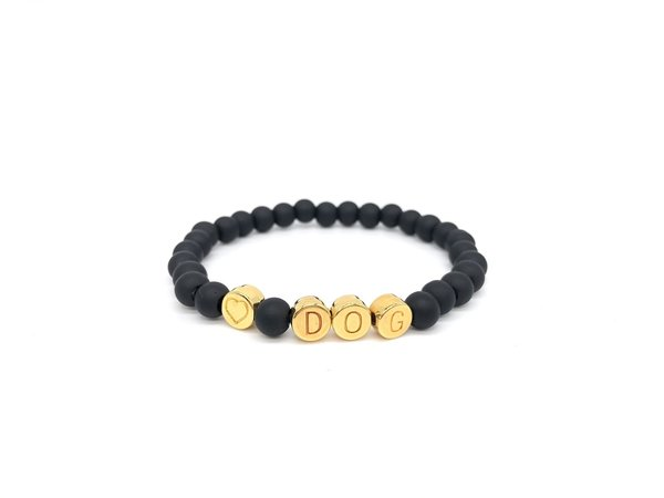 Armband Glasperlen Black / Gold  DOG